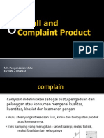 6. Recall and Complaint Product