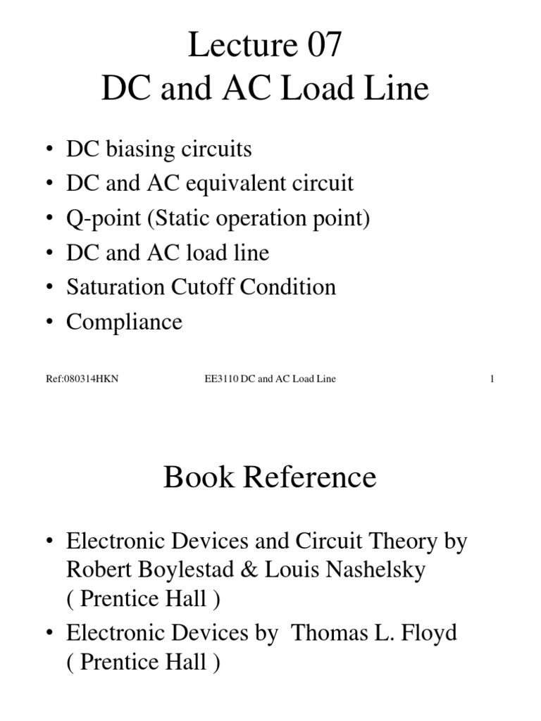 Ac Dc Theory Circuits L07 And Load Line Amplifier Computer Engineering