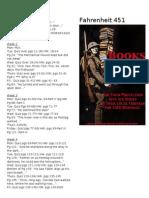 Fahrenheit 451 Reading Schedule