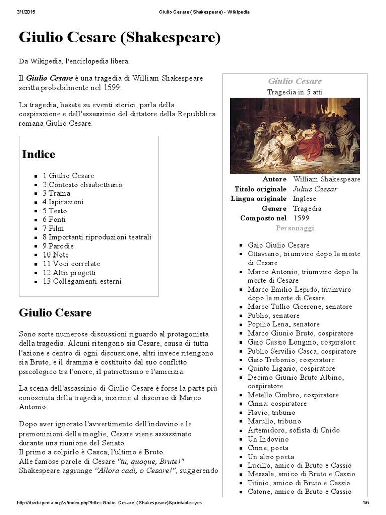 Giulio Cesare Shakespeare Wikipedia