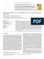 Design and Simulation of a Reactive Distillation Process to Produce High-purity Ethyl Acetate