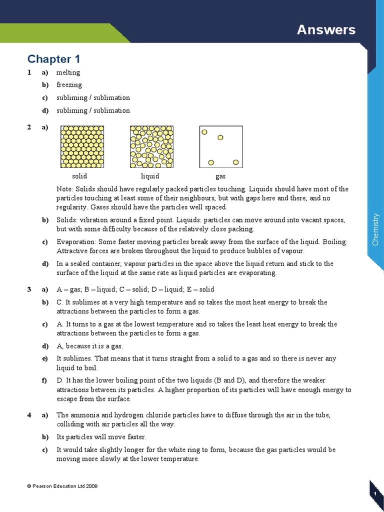 Edexcel IGCSE Chemistry Student's Book Answers | Chemical