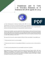 La República Dominicana Ante La Corte Interamericana de Derechos Humanos en El Contexto de La Sentencia Del 28 de Agosto de 2014 de La Corte