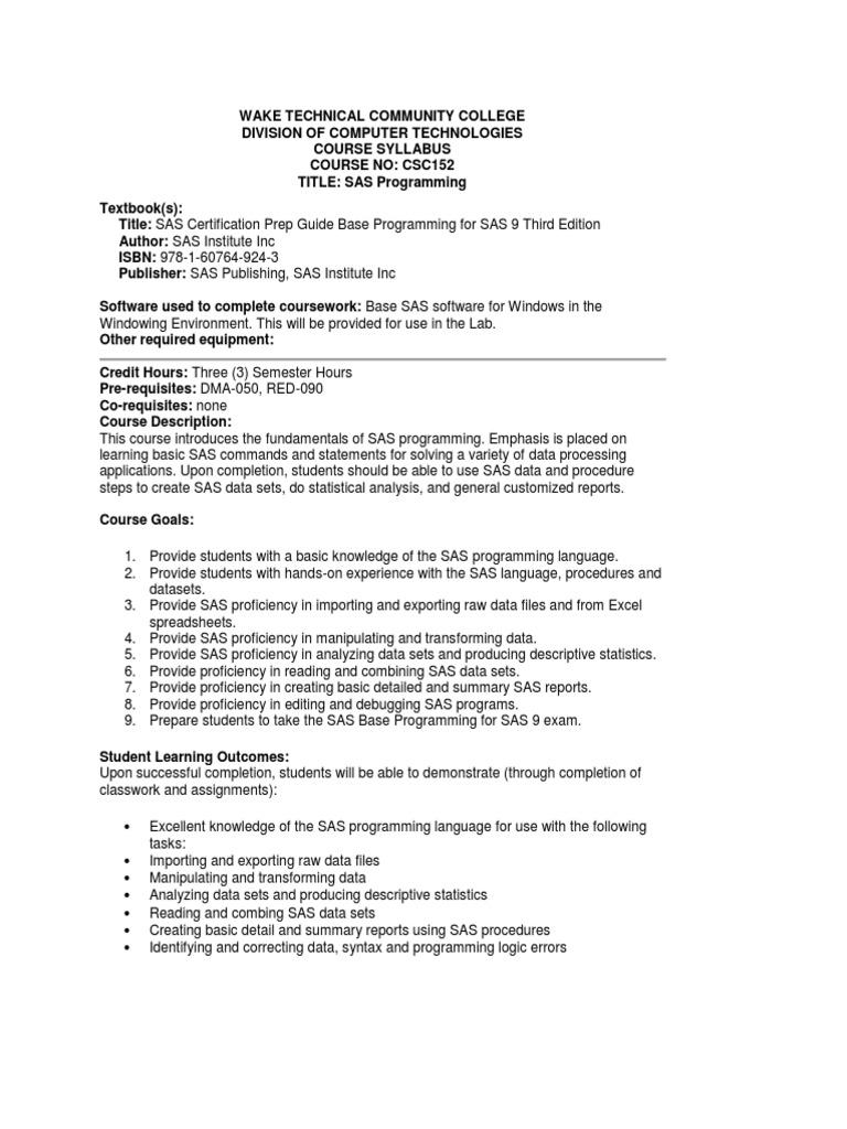 Syllabus For College Class On Sas Certification Csc 152 Sas