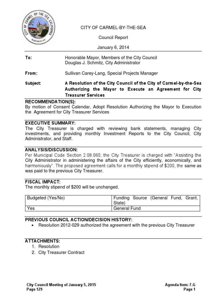 Treasurer Services Agreement 01 05 15 Confidentiality Mediation