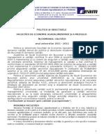 Politica Si Obiectivele Facultatii EAM in Domeniul Calitatii 2011-2012