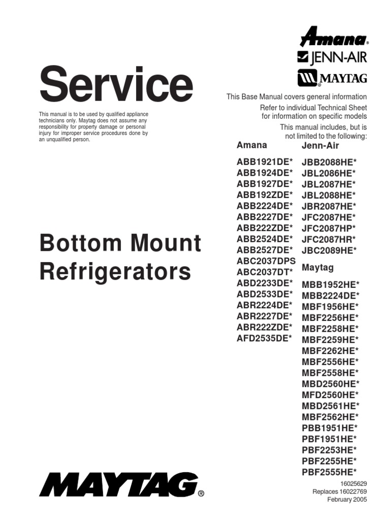 Maytag Refrigerator Repair Manual Aab2524deq