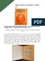 Fernando Mouta, Etnografia Angolana, 1934