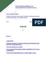 La Contribución de Peter Häberle a La Construcción Del Derecho Constitucional Europeo