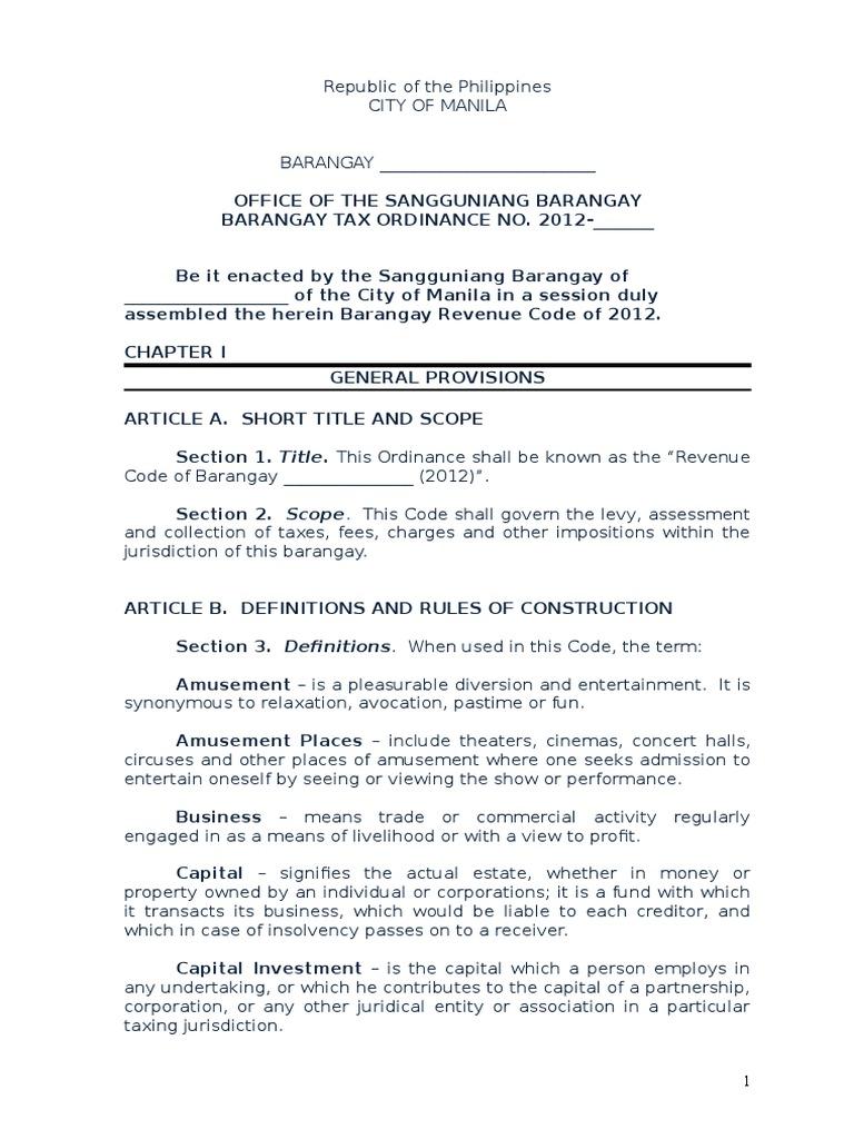 Barangay tax ordinance sample