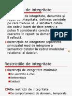 Baze de date- Restrictii de Integritate