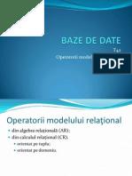 Baze de date - Operatorii Relationali