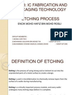 Etching Process   Photolithography   Semiconductors