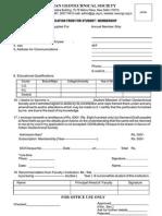 Membership Form Student Member