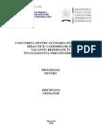 Geologie Programa Titularizare 2010 P
