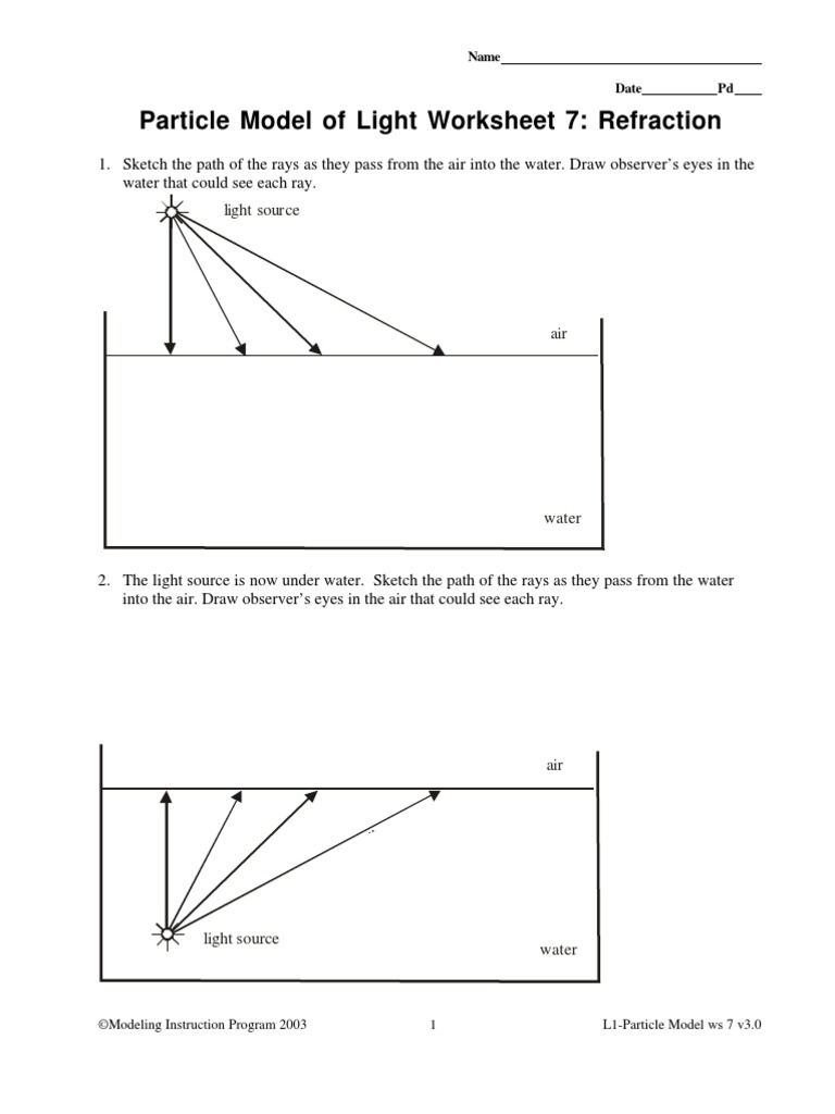worksheet Light Worksheet refraction worksheet 1 1
