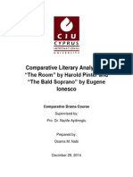 Comparative literary analysis of The Room by Harold Pinter and The Bald Soprano Bye Eugene Eunesco