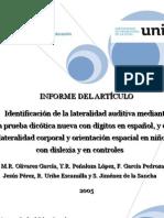 Informe de Articulo Lateralidad