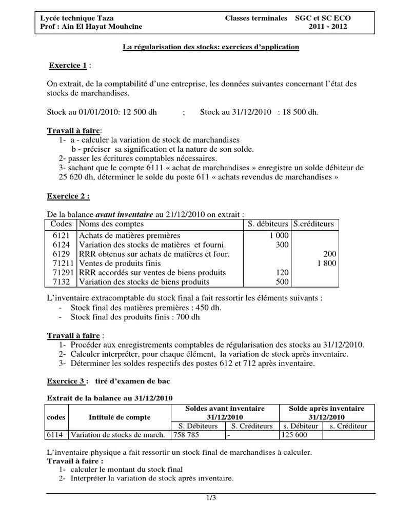 Travaux Dirigés 3 La Régularisation Des Stocks Exercices d ...