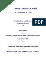 Afiocan Orthodox Church, Constitution