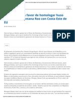 28-10-14 Suman Voces a Favor de Homologar Huso Horario de Quintana Roo Con Costa Este de EU