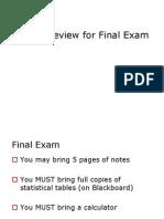 Final Exam Review Class