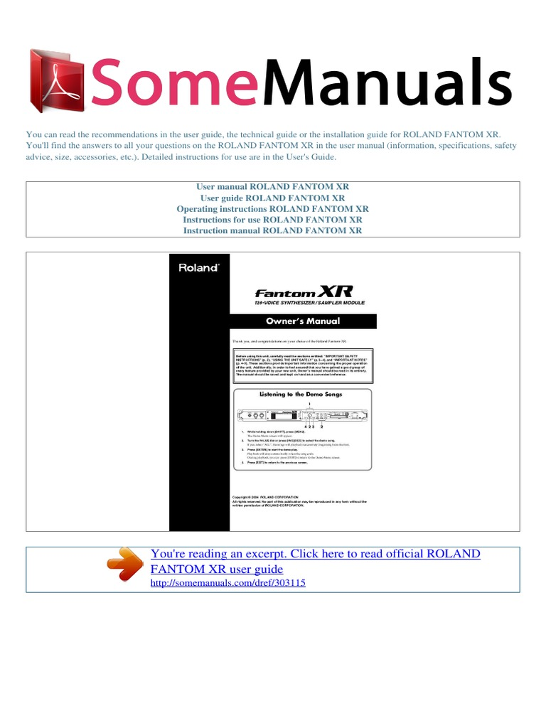 user manual roland fantom xr e synthesizer computer file rh pt scribd com Toshiba User Guide Manual Blip Scale User's Guide