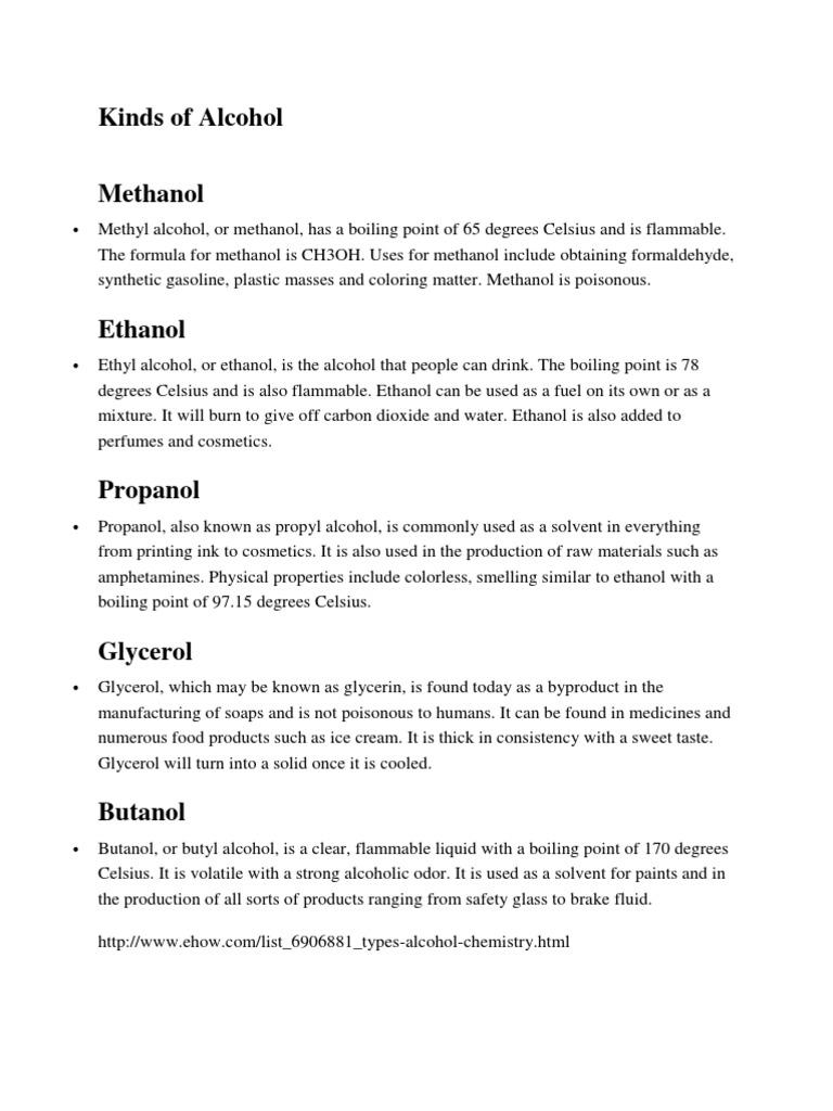 Kinds of Alcohol | Intermolecular Force | Alkane