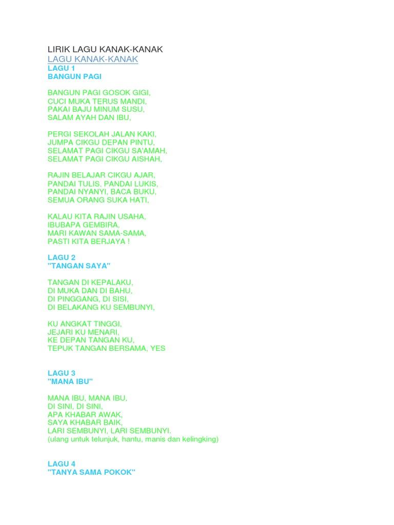 Lirik Lagu Kanak Kanak