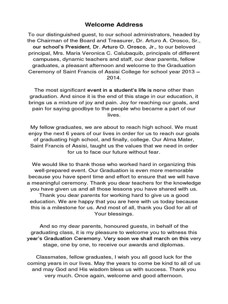 pta president graduation speech tagalog