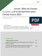 Baromètre annuel. Bilan de l'année écoulée 2014 et perspectives pour l'année future 2015