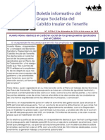 Boletín del Grupo Socialista del Cabildo 107. 22 de Diciembre 2014 - 4 de Enero 2015