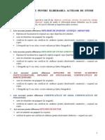 Documente Necesare Eliberarii Actelor de Studii