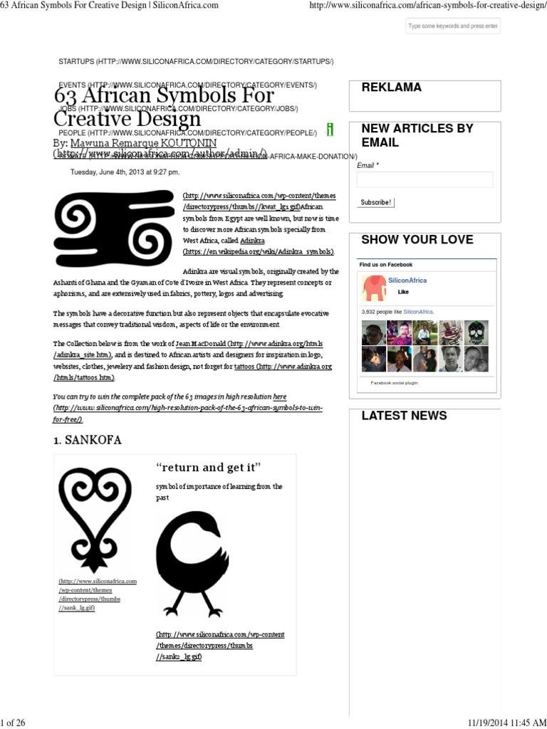 63 Great African Design Symbols And Adinkra Slavery