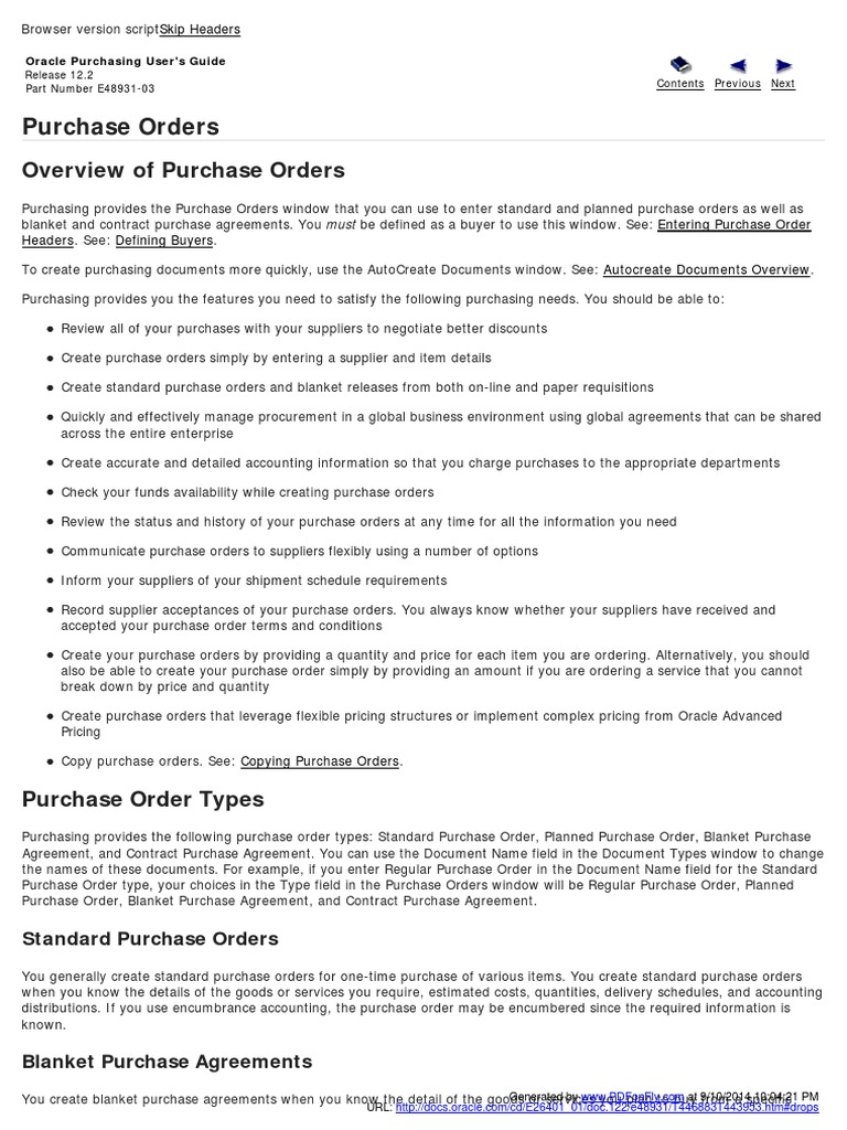 Oracle Purchasing Users Guide 2 Application Programming Interface