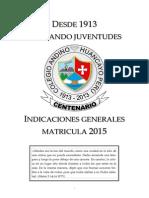 Indicaciones de Matricula 2015