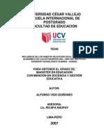 Influencia en Lo Habitos de Estudio y Redimiento Academico Tesis Universidad San Marcos