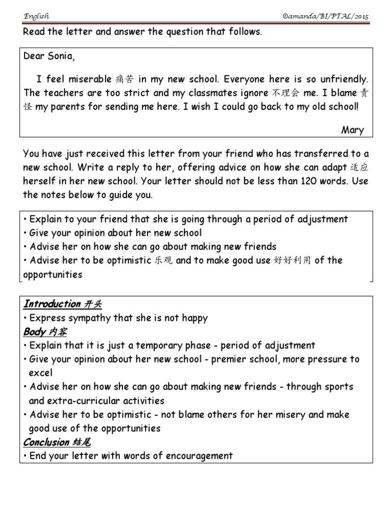 Informal Letter Advice