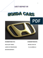 Honda Cars Project Report 2