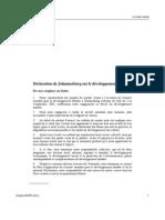 Déclaration de Johannesbourg sur le Développement Durable
