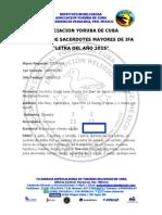 Letra del año 2015. Asociacion Yoruba de Cuba