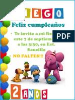 Invitacion Fiesta Diego 2 Años