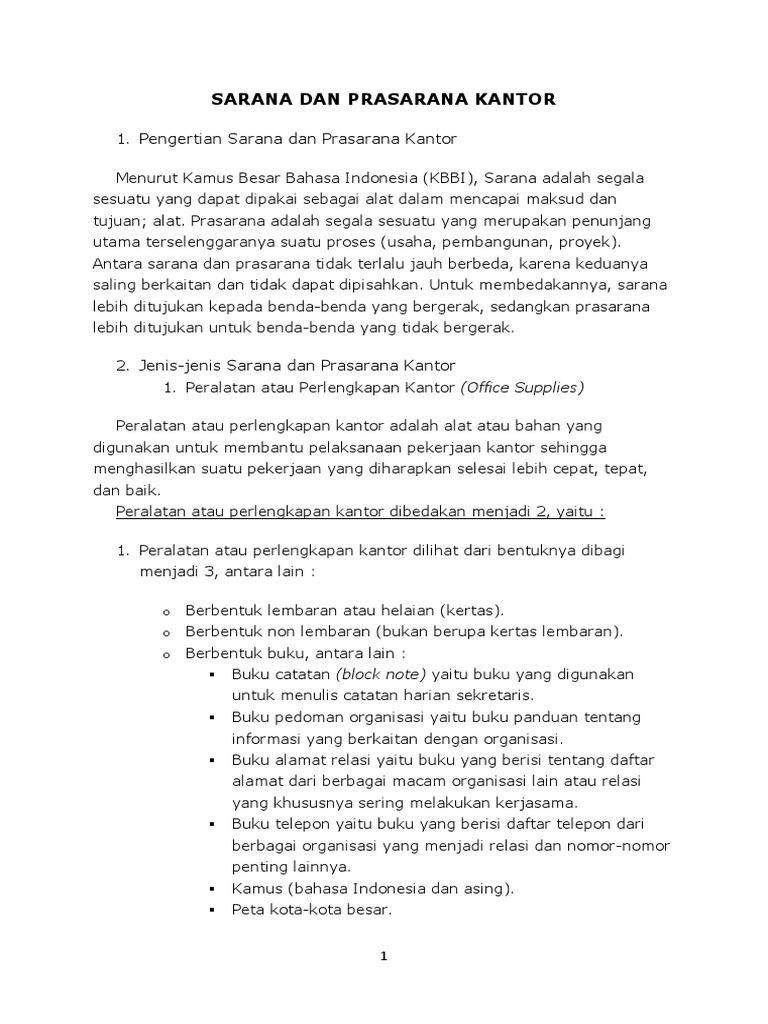 Sarana Dan Prasarana Kantor Docx