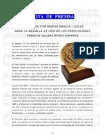 Nota de Prensa Ramon Garcia i Soler Gana La Medalla de Oro de Los Gma