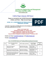 Call for Paper January 2015 Issue