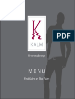 Kalm Grooming Lounge 2015 Menu