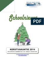 Schoolnieuws Kleuterschool en Lagere School - December 2014