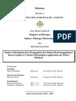 Etude et Simulation de la Propagation des Ondes Electromagnétiques dans les guides à Cristaux Photoniques-Application aux Fibres Optiques
