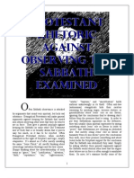 Protestant Rhetoric Against SABBATH Observance EXAMINED