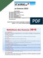 Tarifs Licences FFVRC 2015